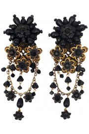 Michal Negrin Black Lace Floral Clip Earrings