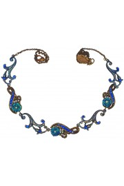 Michal Negrin Antique Blue Roses Necklace