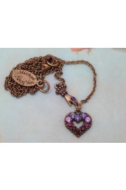 Michal Negrin Purple Mini Victorian Hand & Heart Necklace