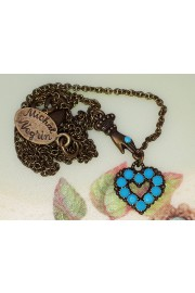 Michal Negrin Turquoise Mini Victorian Hand & Heart Necklace