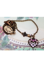 Michal Negrin Pink Mini Victorian Hand & Heart Necklace