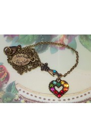 Michal Negrin Multicolor Mini Victorian Hand & Heart Necklace