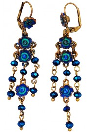 Michal Negrin Blue Floral Drop Earrings