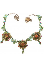 Michal Negrin Multicolor Cherubs Flowers Cameos Necklace