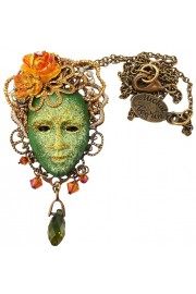 Michal Negrin Green Venetian Mask Necklace