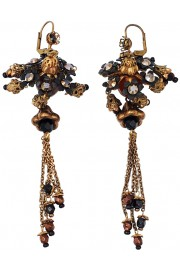 Michal Negrin Black Bronze Chandelier Earrings