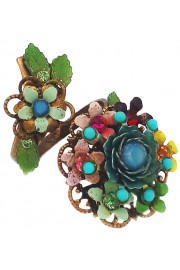 Michal Negrin Multicolor Floral Wrap Ring