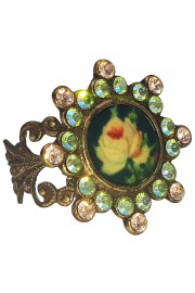 Michal Negrin Vintage Rose Cameo Crystal Ring