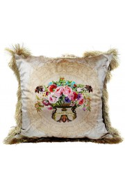 Michal Negrin Ecru Flowers Velvet Cushion Cover