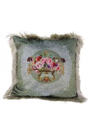 Michal Negrin Green Flowers Velvet Cushion Cover