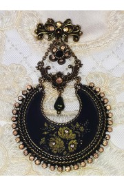 Michal Negrin Black Roses Crescent Brooch