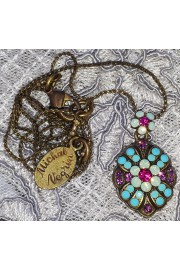 Michal Negrin Turquoise Purple Mosaic Pendant Necklace