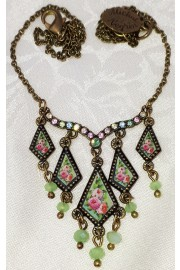Michal Negrin Green Roses Miniature Pendants Necklace