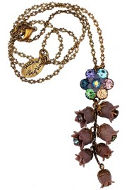 Michal Negrin Purple Blue Bells Drop Necklace