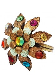 Michal Negrin Multicolor Leaves Dome Ring
