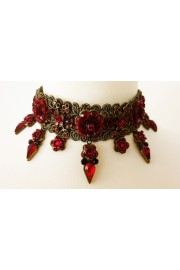 Michal Negrin Red Crystal Flowers Lace Choker