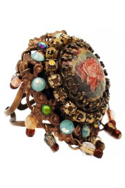 Michal Negrin Earth Tones Rose Cameo Crystal Ring