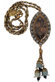 Michal Negrin Grey Black Marble Rose Cameo Necklace
