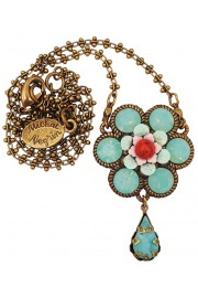 Michal Negrin Sea Green Coral Daisy Flower Necklace