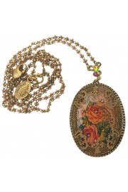 Michal Negrin Filigree Roses Oval Cameo Necklace