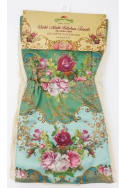 Michal Negrin Green Roses Satin Pockets Kitchen Towel