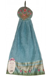 Michal Negrin Blue Roses Cotton Satin Towel