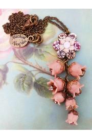 Michal Negrin Pink Bells Drop Necklace