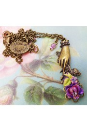 Michal Negrin Purple Hand Holding a Rose Necklace