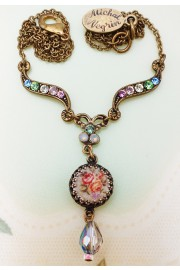 Michal Negrin Pastel Miniature Rose Cameo Necklace