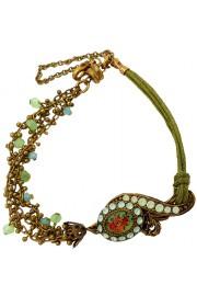 Michal Negrin Green Cord Cameo Bracelet