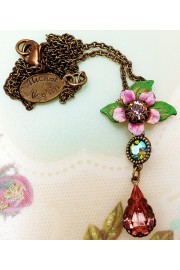 Michal Negrin Pink Green Flower Pendant Necklace