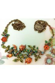 Michal Negrin Orange Bronze Briar Rose Necklace