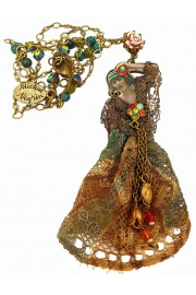 Michal Negrin Retro Woman with Lace Dress Necklace