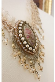 Michal Negrin Rose Cameo Lace Necklace