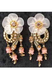 Michal Negrin Nude Gold Tone Lace Flower Clip Earrings