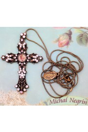 Michal Negrin Pink Cross Necklace