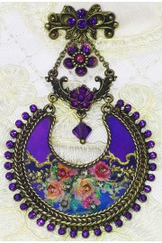 Michal Negrin Purple Roses Crescent Brooch