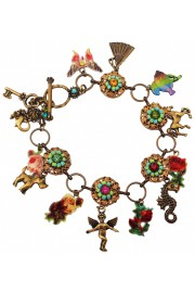 Michal Negrin Multicolor Flowers Animals Charms Bracelet
