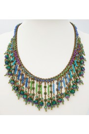 Michal Negrin Purple Blue Green Beaded Necklace
