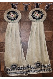 Michal Negrin Pair of Beige Black Roses Cotton Satin Towels