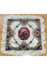 Michal Negrin Velvet Lace Bordeaux Roses Doily Placemat
