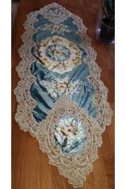 Michal Negrin Blue Velvet Lace Roses Runner Tablecloth