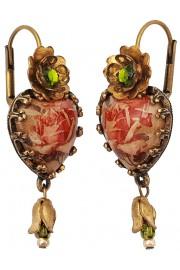 Michal Negrin Rose Cabochon Heart Earrings