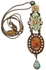 Michal Negrin Vintage Floral Cameo Drop Necklace