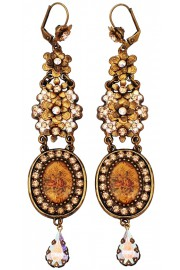 Michal Negrin Gold Aurora Borealis Cameo Drop Earrings