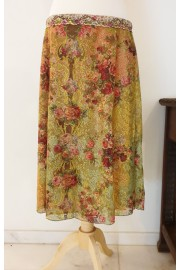 Michal Negrin Vintage Lace Roses Skirt