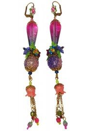 Michal Negrin Pink Purple Fantasy Earrings