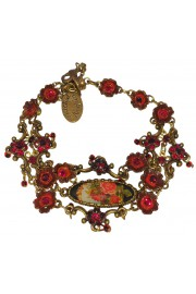 Michal Negrin Red Delicate Oval Cameo Floral Bracelet