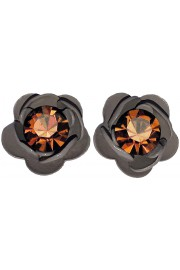 Michal Negrin Grey Rose Bronze Crystal Stud Earrings