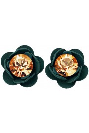 Michal Negrin Teal Peach Rose Stud Earrings